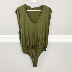 Free People Olive Green Bodysuit